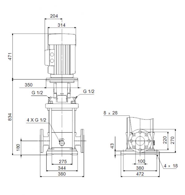 Габариты вертикального многоступенчатого центробежного насоса CRN 150-1 HQQV Grundfos