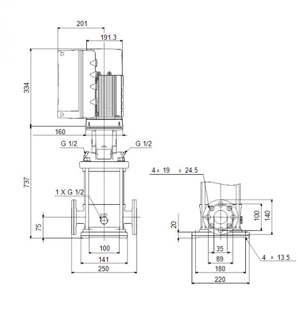 Габариты вертикального многоступенчатого центробежного насоса CRE 1-27 HQQE Grundfos