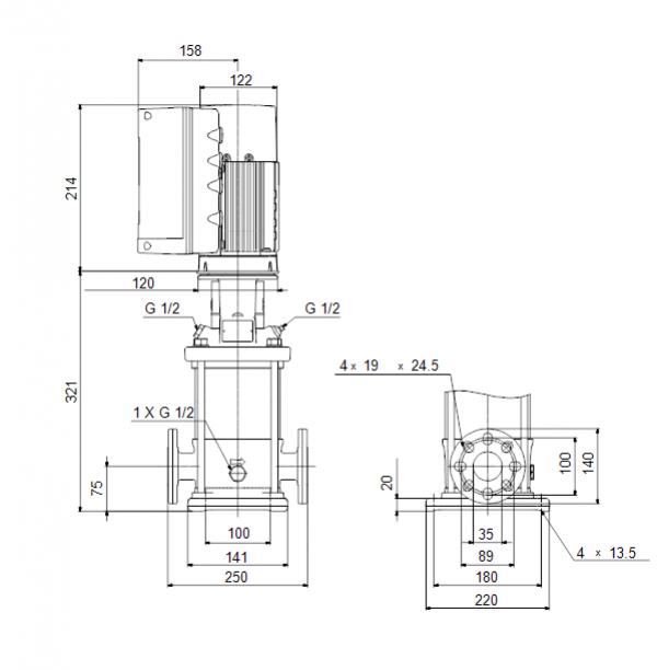 Габариты вертикального многоступенчатого центробежного насоса CRE 3-5 HQQE Grundfos