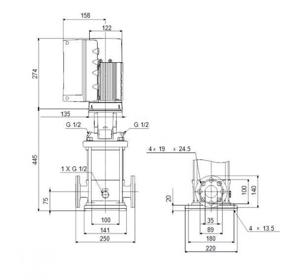 Габариты вертикального многоступенчатого центробежного насоса CRE 3-11 HQQE Grundfos