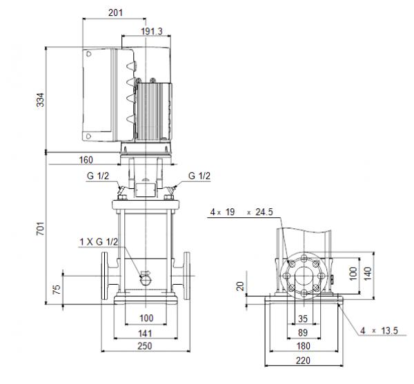 Габариты вертикального многоступенчатого центробежного насоса CRE 3-25 HQQE Grundfos