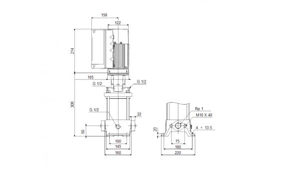 Габариты вертикального многоступенчатого центробежного насоса CRE 1-6 HQQE Grundfos