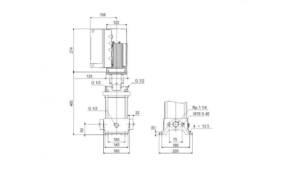 Габариты вертикального многоступенчатого центробежного насоса CRE 5-9 HQQE Grundfos