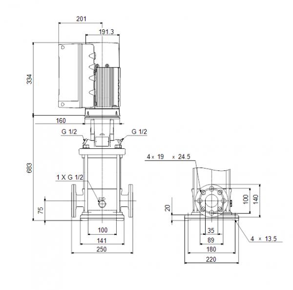 Габариты вертикального многоступенчатого центробежного насоса CRE 5-16 HQQE Grundfos