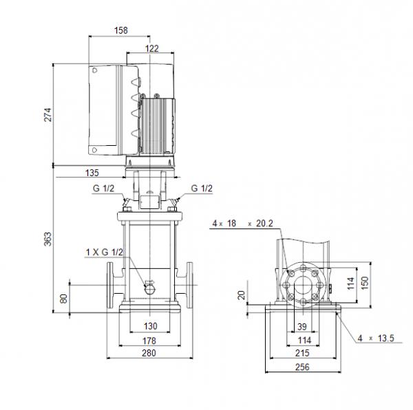 Габариты вертикального многоступенчатого центробежного насоса CRE 10-2 HQQE Grundfos