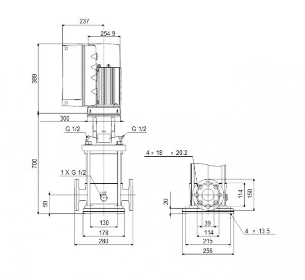 Габариты вертикального многоступенчатого центробежного насоса CRE 10-12 HQQE Grundfos