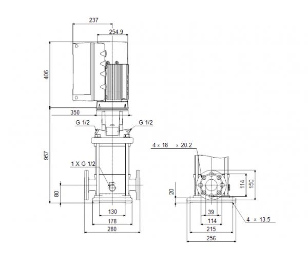 Габариты вертикального многоступенчатого центробежного насоса CRE 10-17 HQQE Grundfos