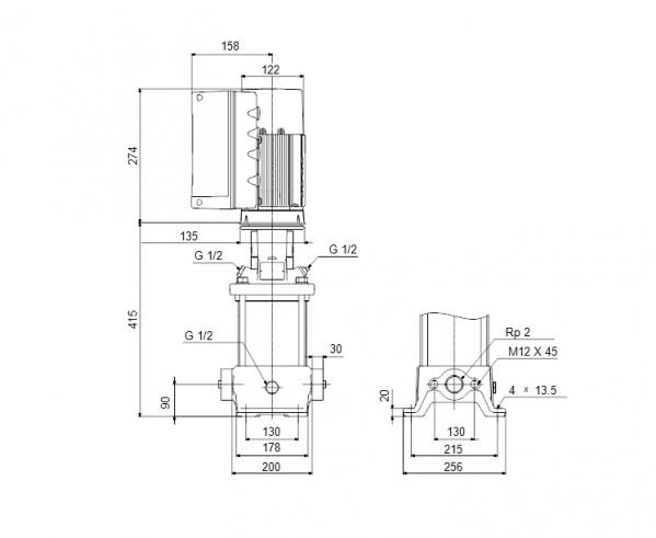 Габариты вертикального многоступенчатого центробежного насоса CRE 15-1 HQQE Grundfos