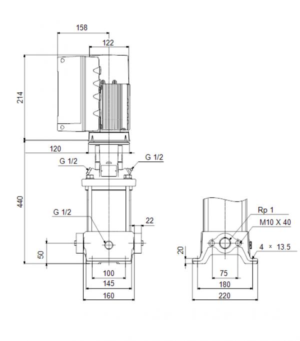 Габариты вертикального многоступенчатого центробежного насоса CRE 1-13 HQQE Grundfos