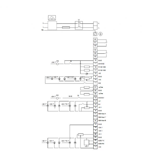Схема подключения вертикального многоступенчатого центробежного насоса CRE 1-4 HQQE Grundfos