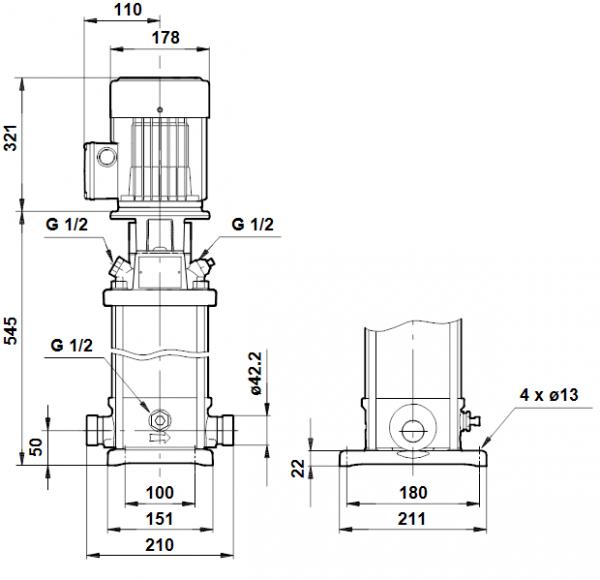 Габариты вертикального многоступенчатого центробежного насоса CRT 2-18 AUUE Grundfos