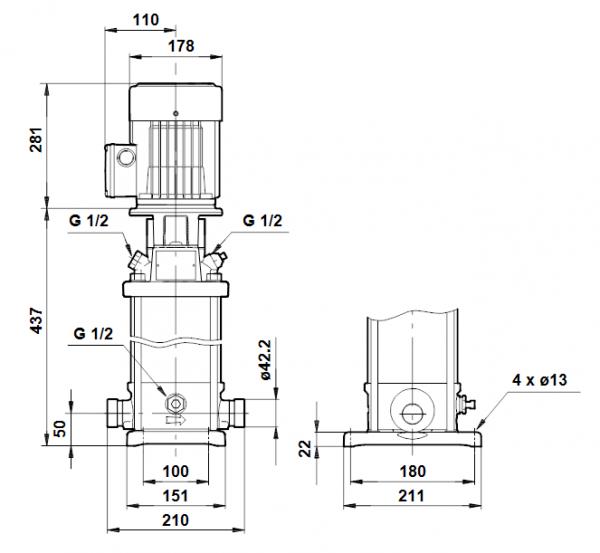 Габариты вертикального многоступенчатого центробежного насоса CRT 4-8 AUUE Grundfos