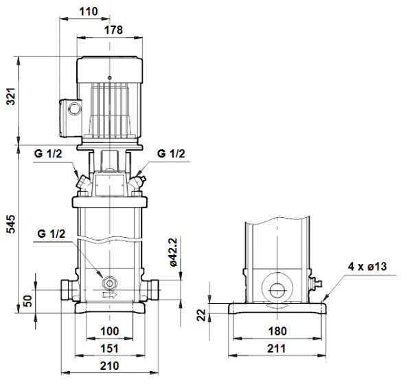 Габариты вертикального многоступенчатого центробежного насоса CRT 4-10 AUUE Grundfos