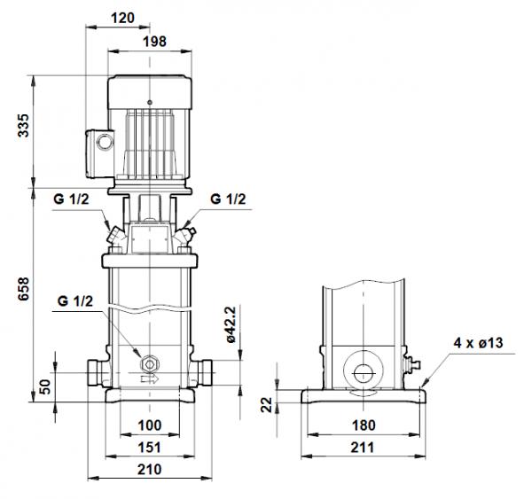 Габариты вертикального многоступенчатого центробежного насоса CRT 4-14 AUUE Grundfos