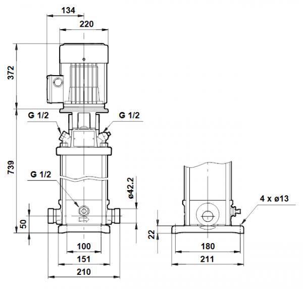 Габариты вертикального многоступенчатого центробежного насоса CRT 4-19 AUUE Grundfos