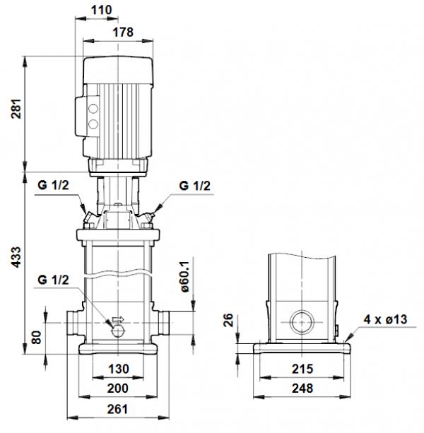 Габариты вертикального многоступенчатого центробежного насоса CRT 8-4 AUUE Grundfos