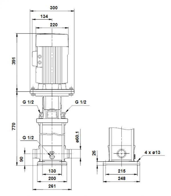 Габариты вертикального многоступенчатого центробежного насоса CRT 8-14 AUUE Grundfos