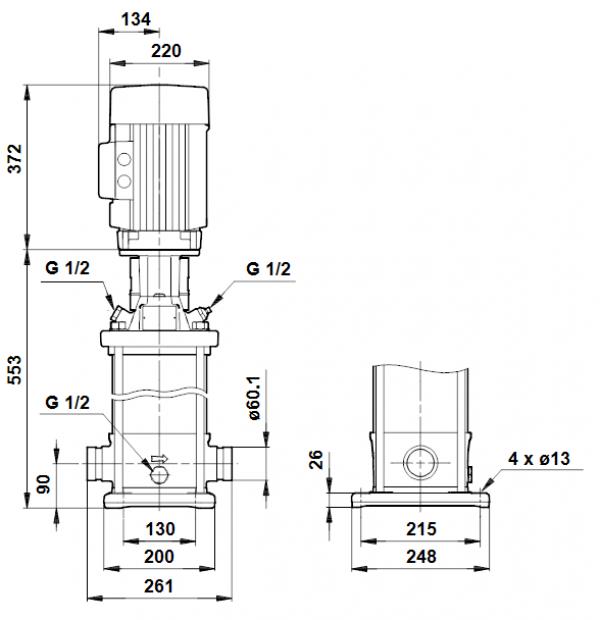 Габариты вертикального многоступенчатого центробежного насоса CRT 16-4 AUUE Grundfos