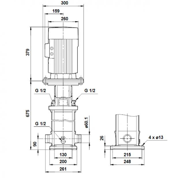 Габариты вертикального многоступенчатого центробежного насоса CRT 16-7 AUUE Grundfos