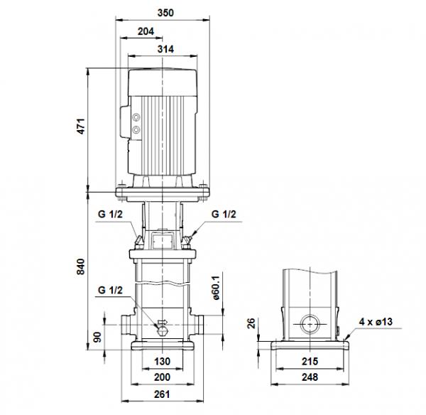 Габариты вертикального многоступенчатого центробежного насоса CRT 16-10 AUUE Grundfos