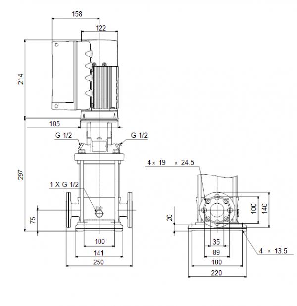 Габариты вертикального многоступенчатого центробежного насоса CRE 1-4 HQQE Grundfos