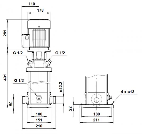 Габариты вертикального многоступенчатого центробежного насоса CRT 2-13 AUUE Grundfos