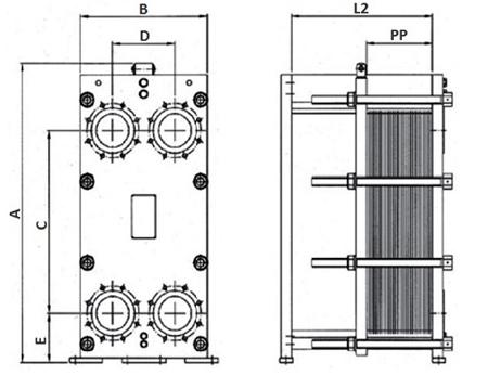 Габаритные размеры пластинчатого теплообменника FP 04-15 Funke