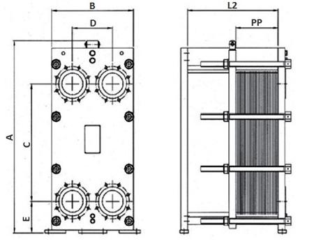 Габаритные размеры пластинчатого теплообменника FP 08-41 Funke
