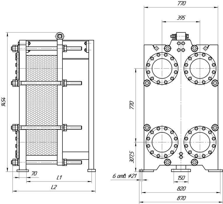 Габаритные размеры теплообменника Этра ЭТ-0405-109