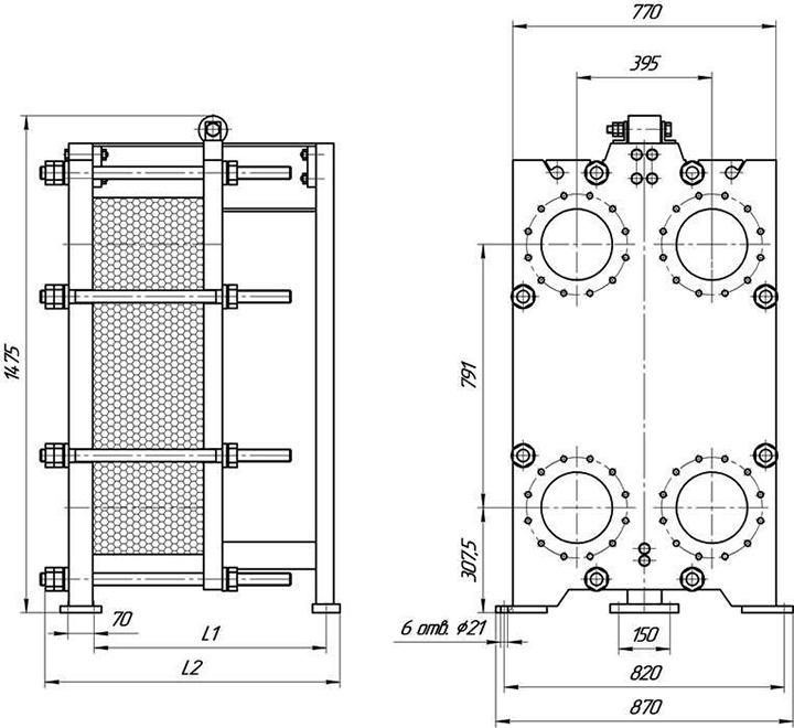 Габаритные размеры теплообменника Этра ЭТ-043c-21