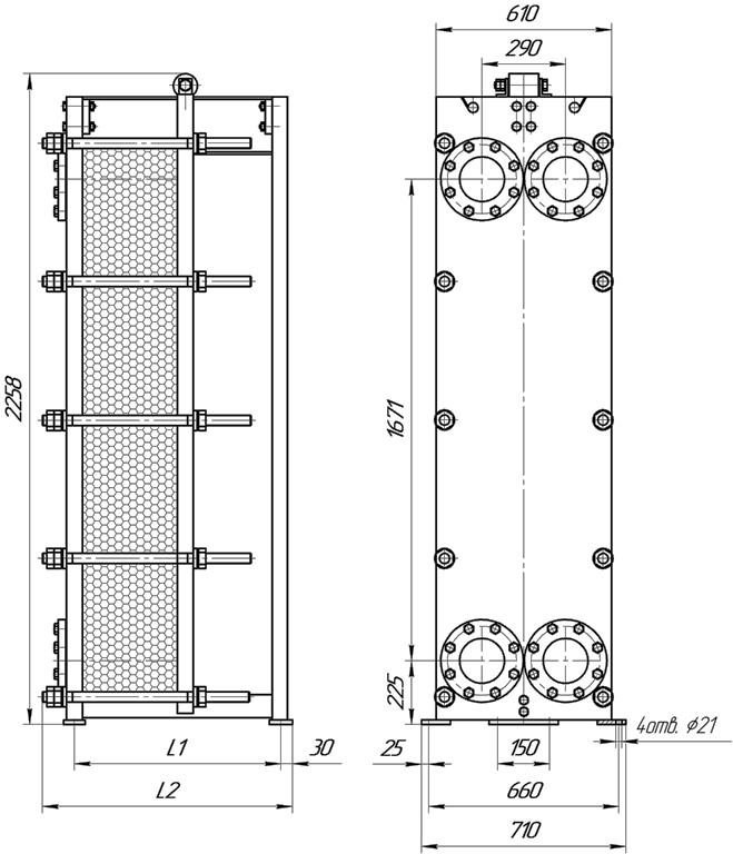 Габаритные размеры теплообменника Этра ЭТ-082-815