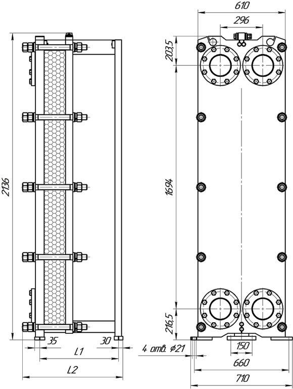 Габаритные размеры теплообменника Этра ЭТ-086c-363