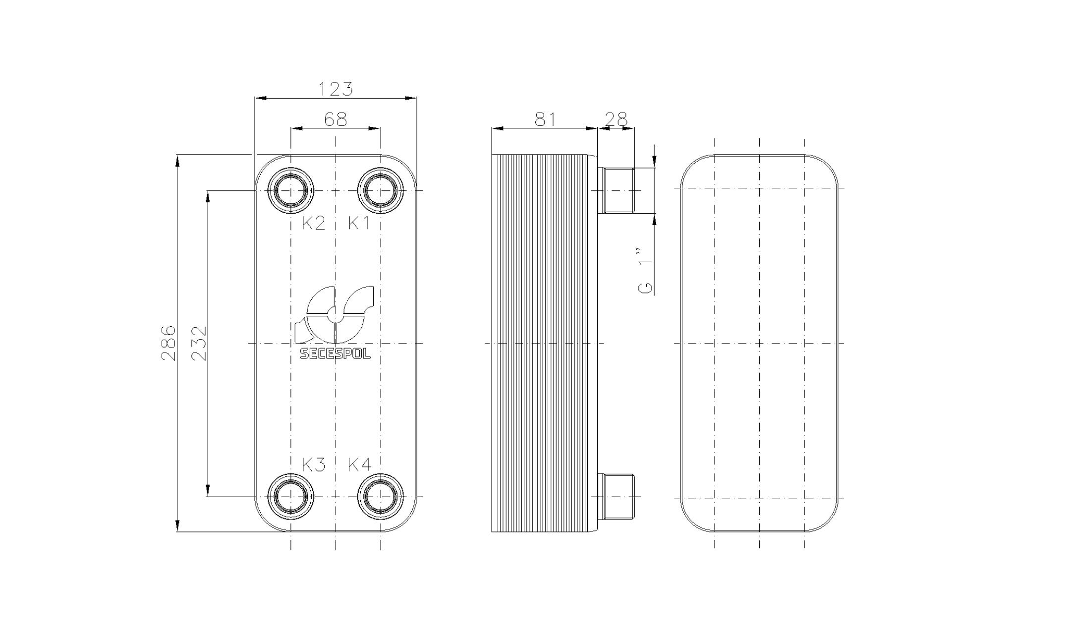 """Габаритные размеры паяного пластинчатого теплообменника Secespol LB31-30-1"""""""