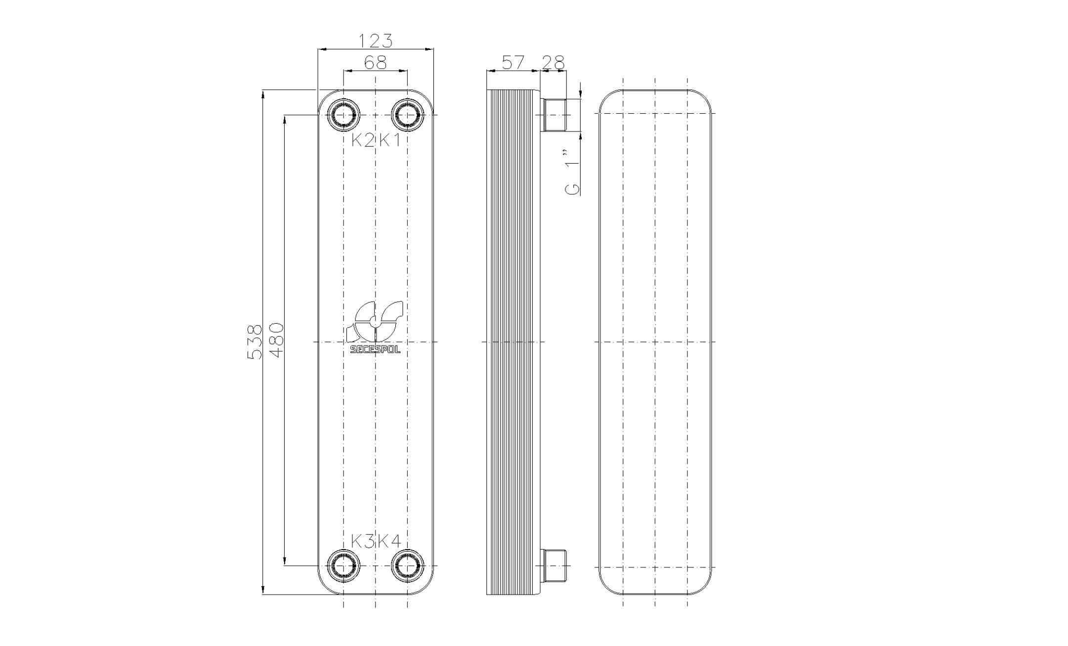 """Габаритные размеры паяного пластинчатого теплообменника Secespol LB60SP-20-1"""""""