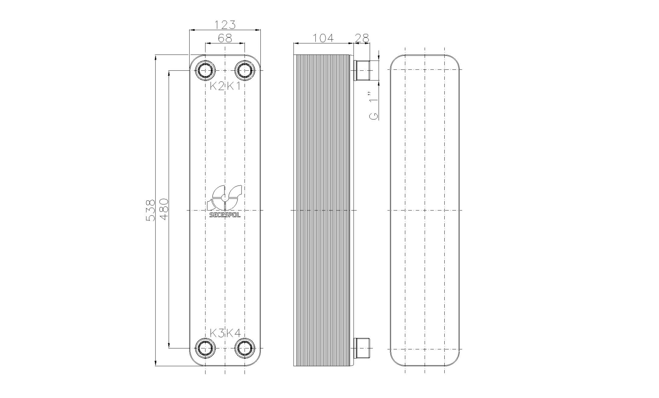 """Габаритные размеры паяного пластинчатого теплообменника Secespol LB60SP-40-1"""""""
