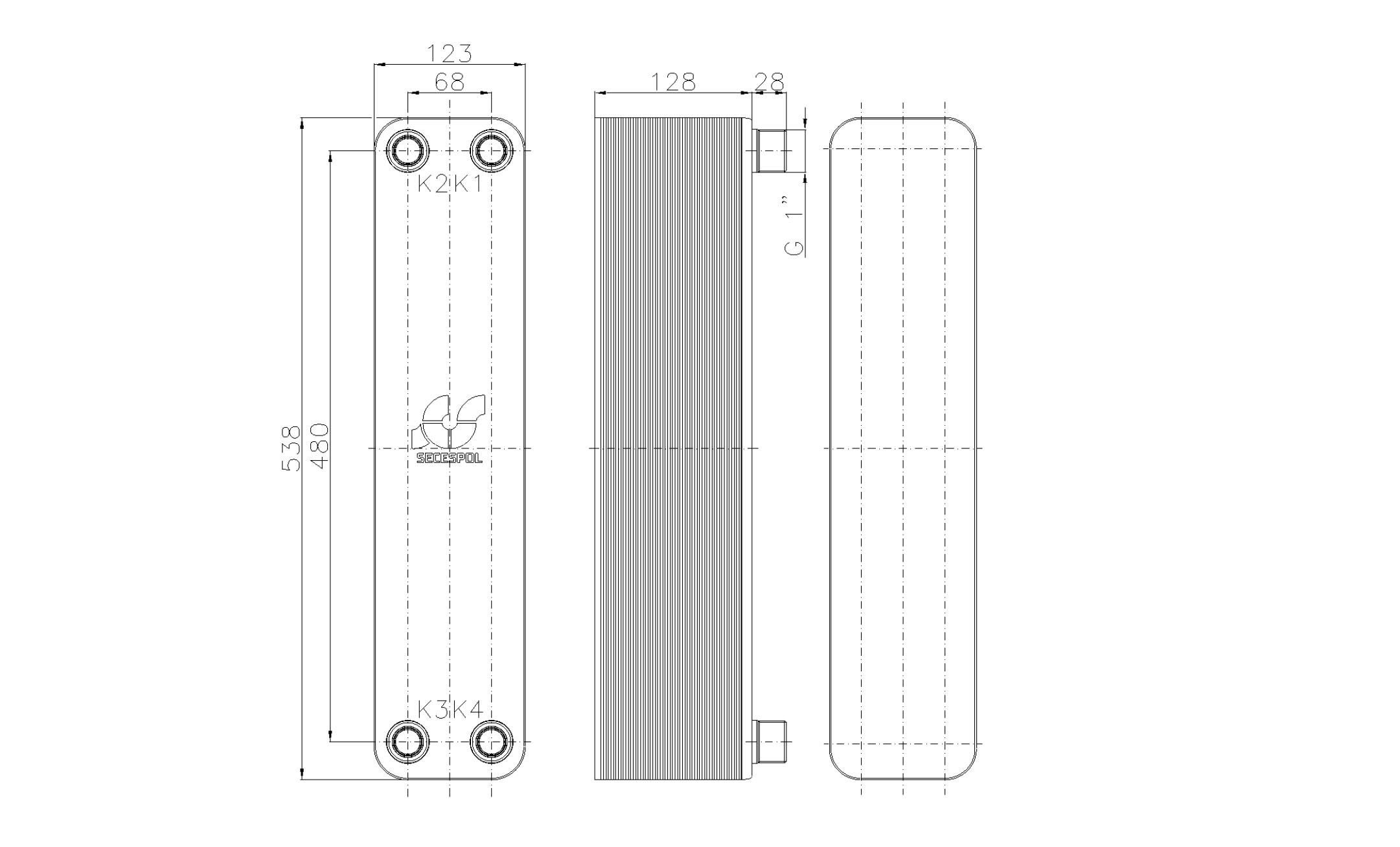"""Габаритные размеры паяного пластинчатого теплообменника Secespol LB60SP-50-1"""""""