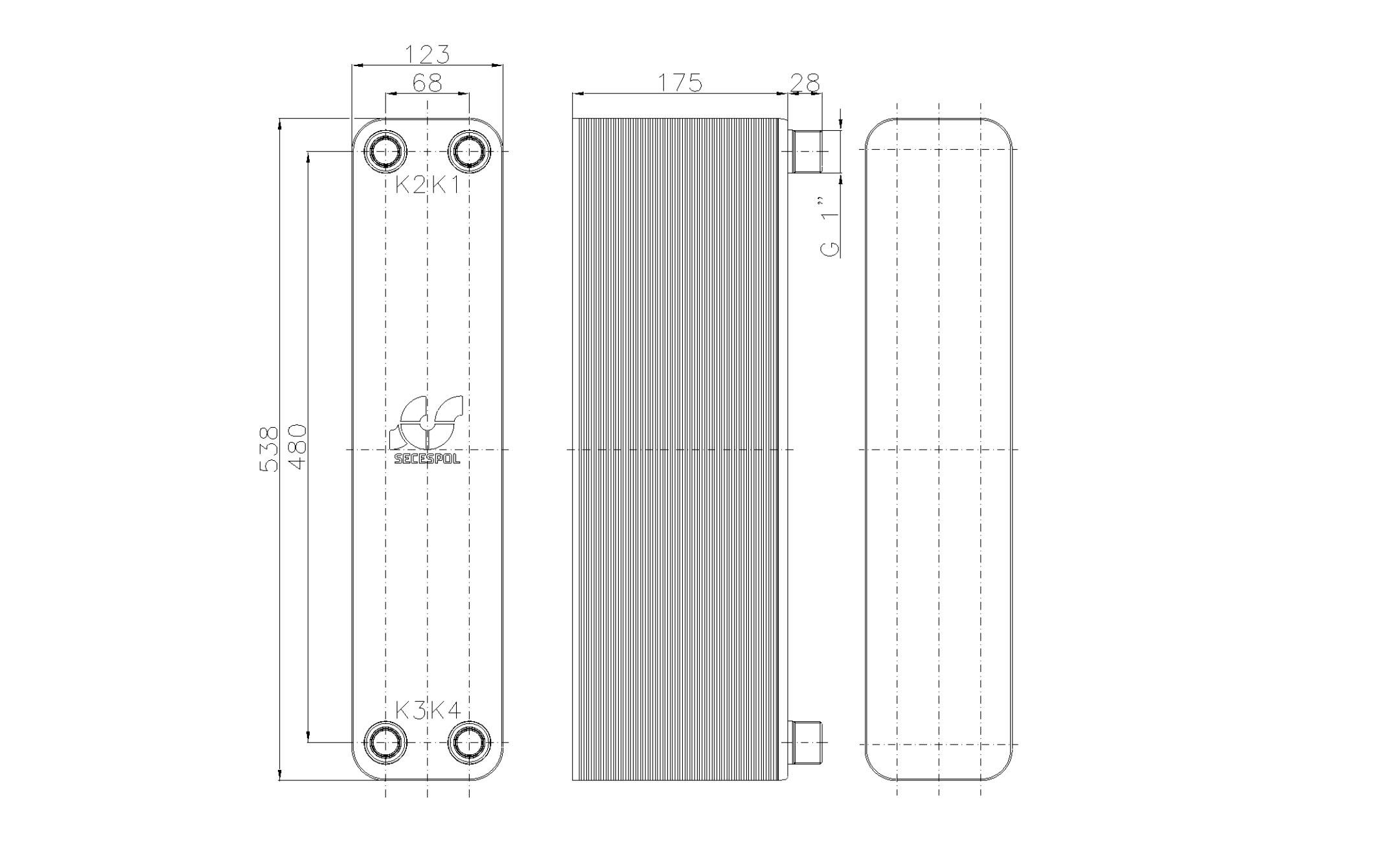 """Габаритные размеры паяного пластинчатого теплообменника Secespol LB60SP-70-1"""""""
