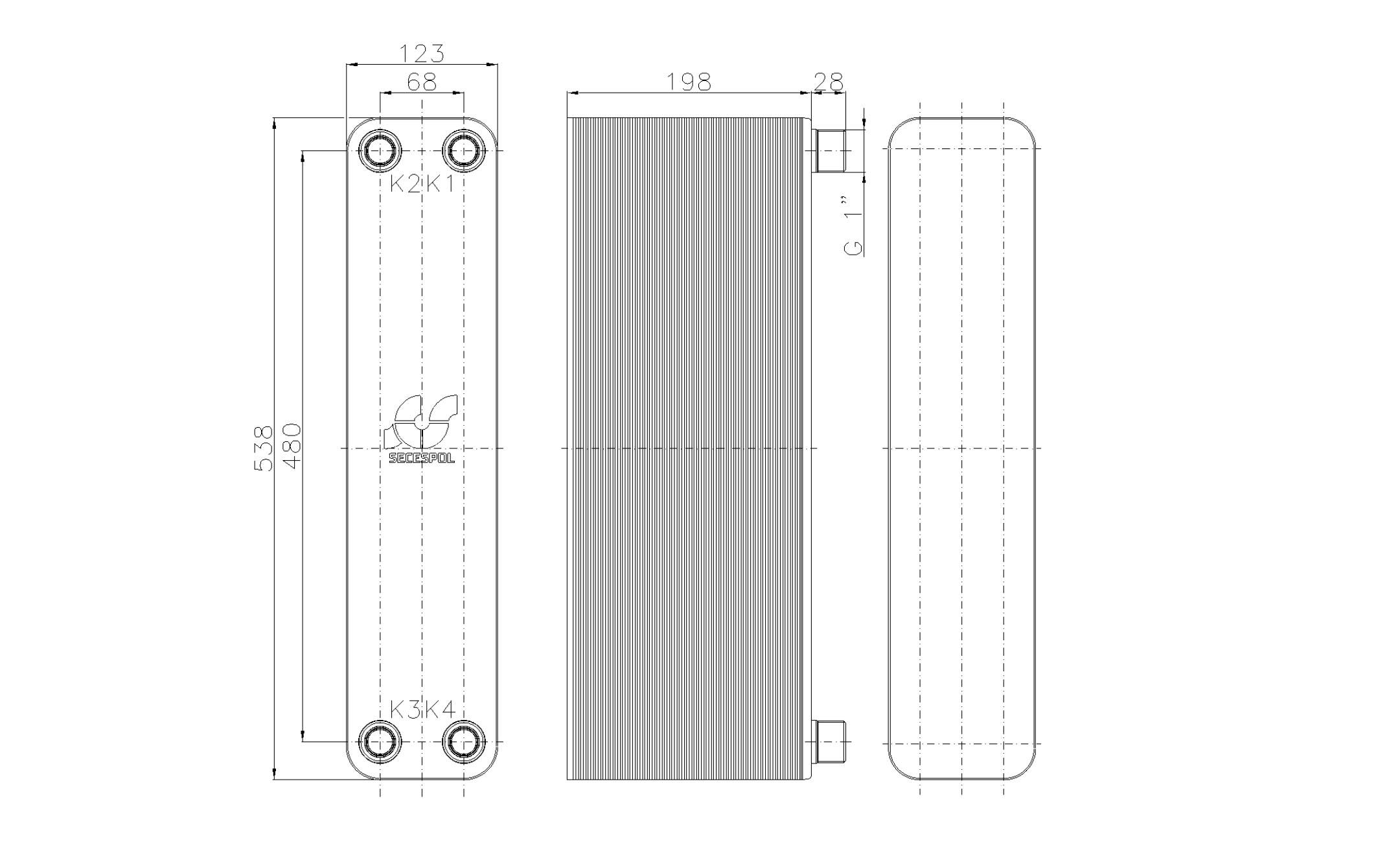 """Габаритные размеры паяного пластинчатого теплообменника Secespol LB60SP-80-1"""""""