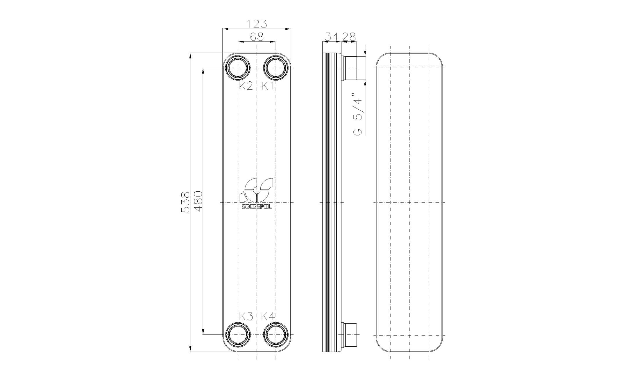 """Габаритные размеры паяного пластинчатого теплообменника Secespol LB60SP-10-5/4"""""""