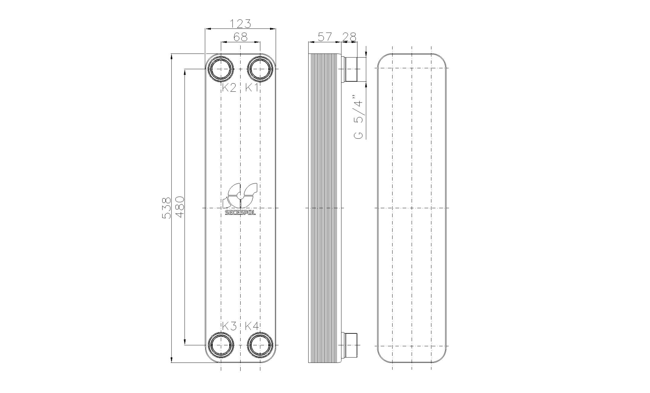 """Габаритные размеры паяного пластинчатого теплообменника Secespol LB60SP-20-5/4"""""""