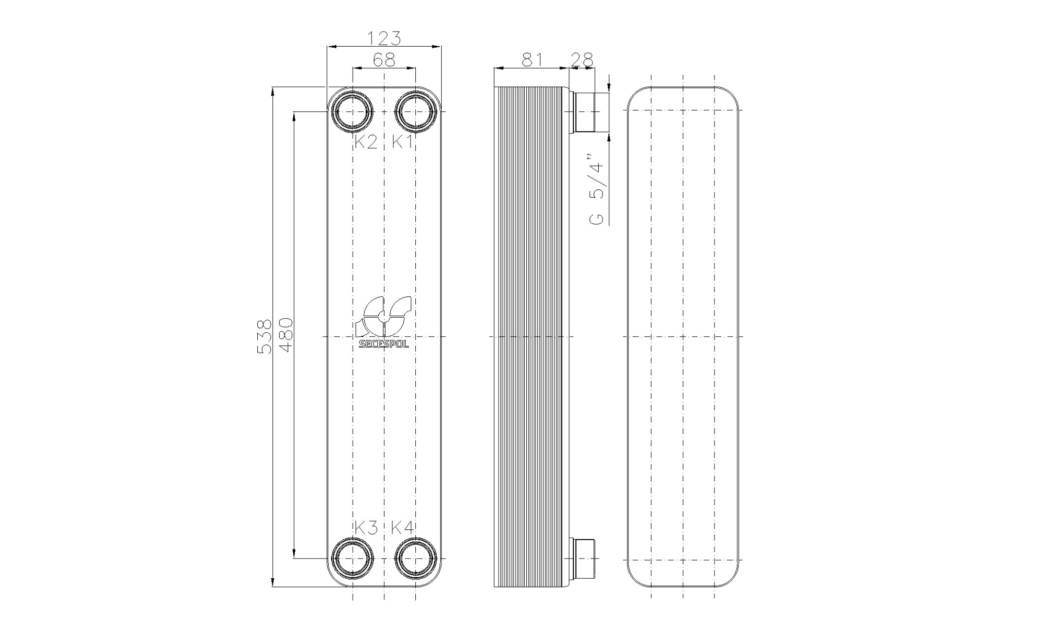 """Габаритные размеры паяного пластинчатого теплообменника Secespol LB60SP-30-5/4"""""""