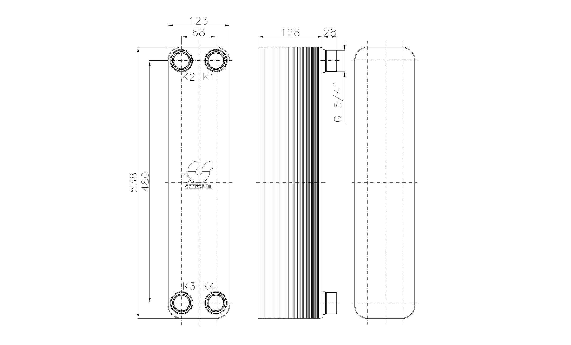 """Габаритные размеры паяного пластинчатого теплообменника Secespol LB60SP-50-5/4"""""""