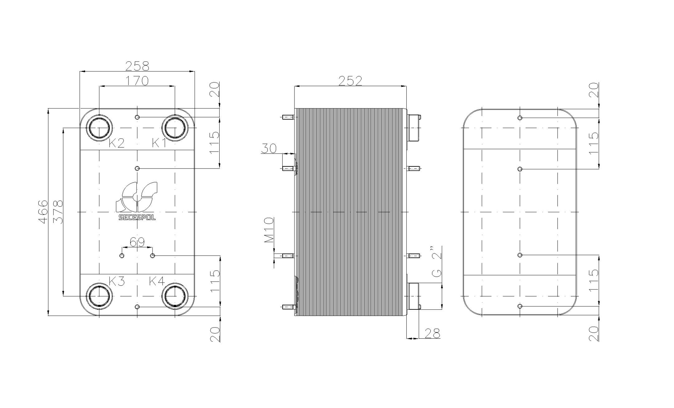 """Габаритные размеры паяного пластинчатого теплообменника Secespol LC110SP-100-2"""""""