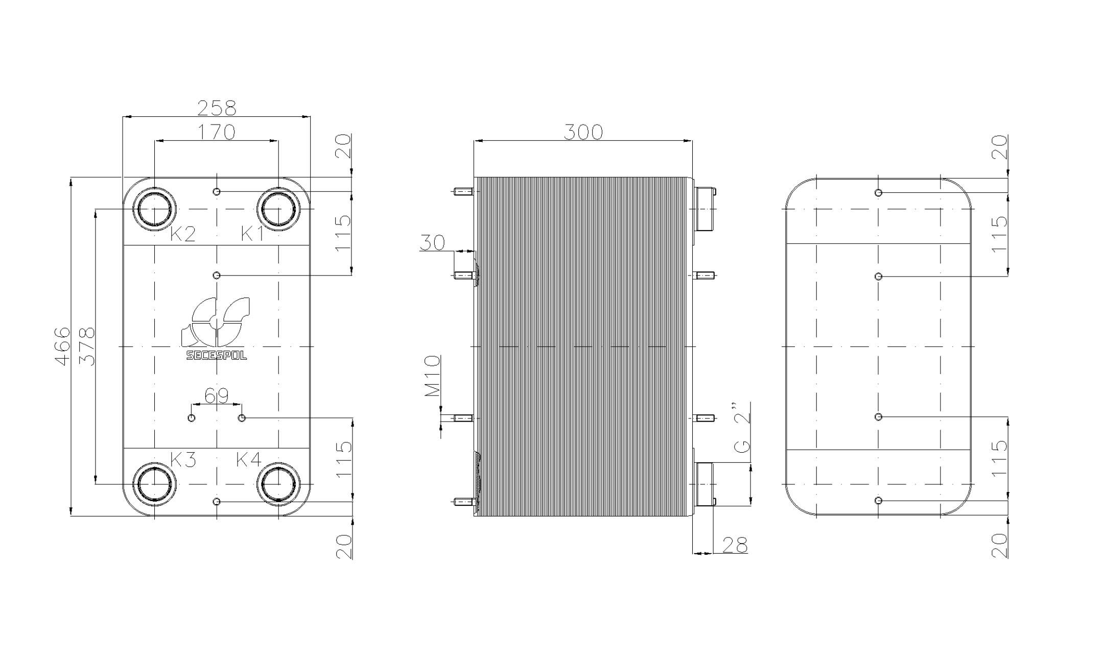 """Габаритные размеры паяного пластинчатого теплообменника Secespol LC110SP-120-2"""""""