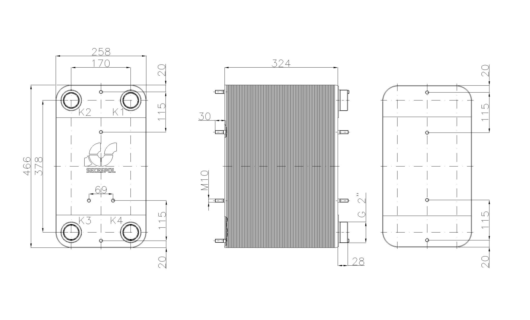 """Габаритные размеры паяного пластинчатого теплообменника Secespol LC110SP-130-2"""""""