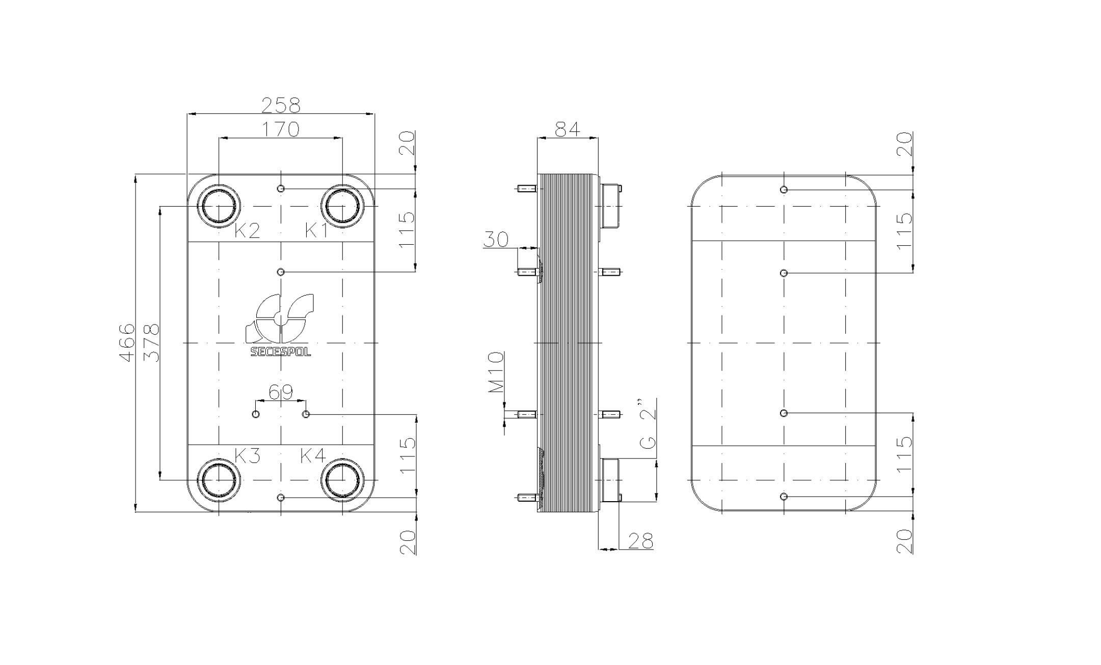 """Габаритные размеры паяного пластинчатого теплообменника Secespol LC110SP-30-2"""""""