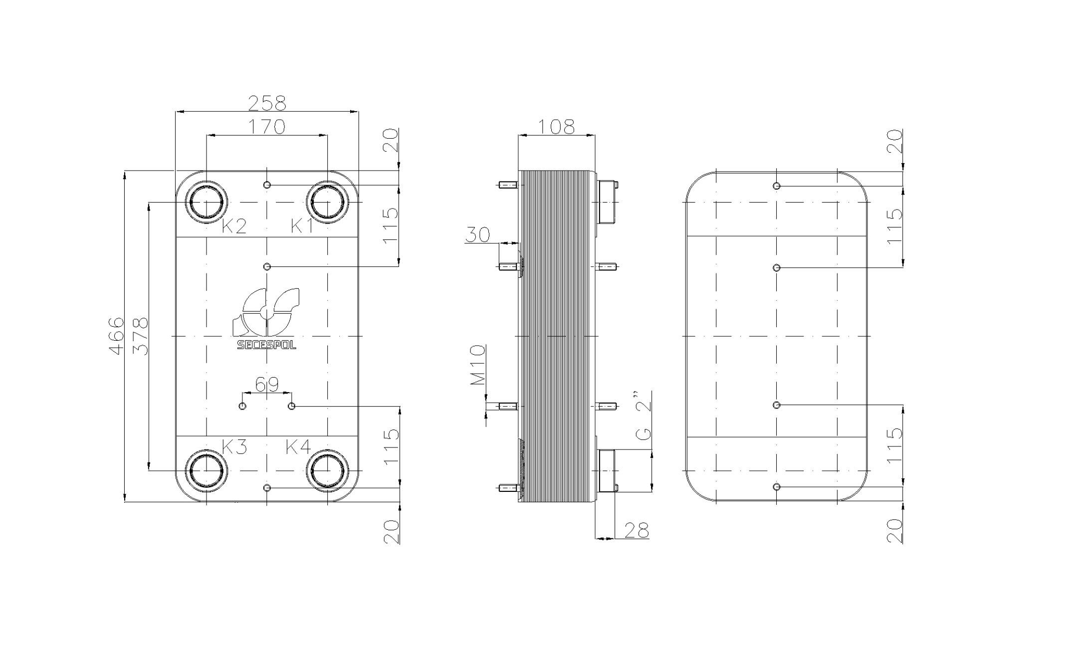 """Габаритные размеры паяного пластинчатого теплообменника Secespol LC110SP-40-2"""""""