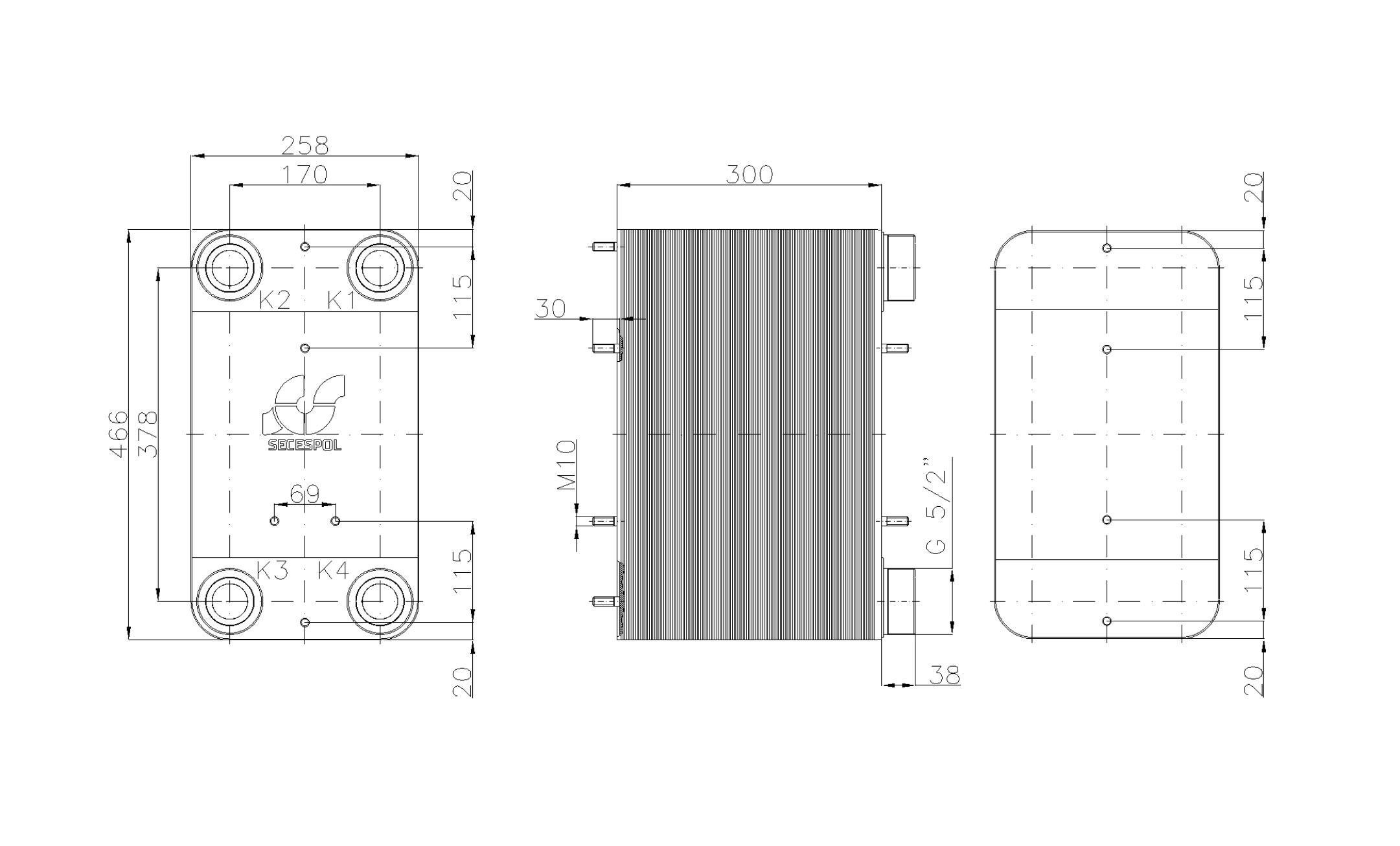 """Габаритные размеры паяного пластинчатого теплообменника Secespol LC110SP-120-2,5"""""""