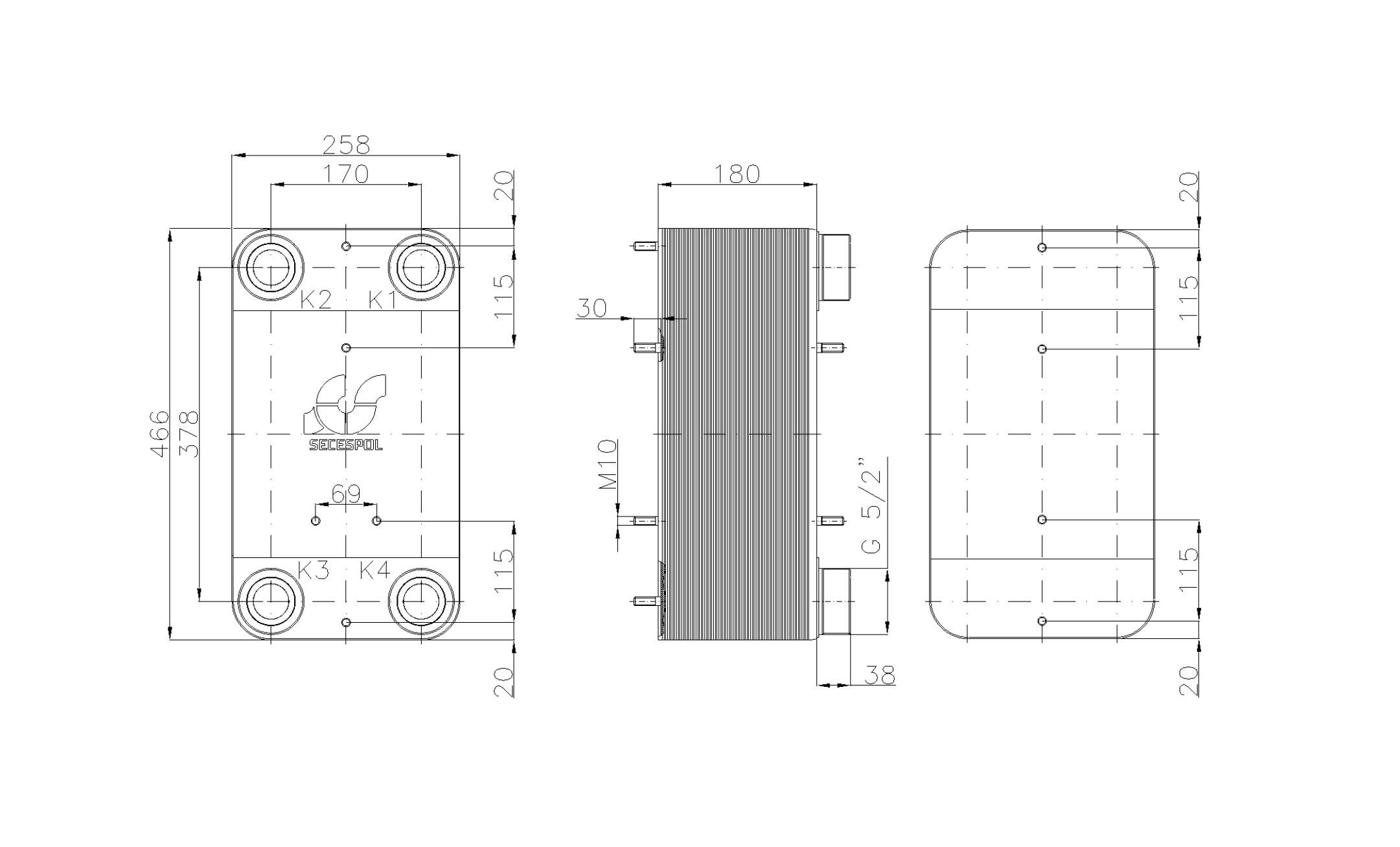 """Габаритные размеры паяного пластинчатого теплообменника Secespol LC110SP-70-2,5"""""""