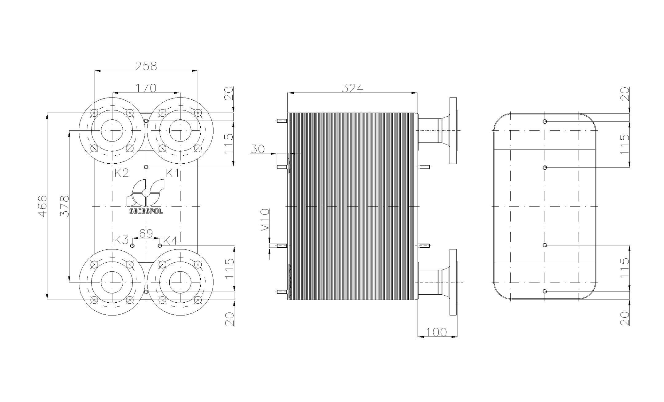 Габаритные размеры паяного пластинчатого теплообменника Secespol LC110SP-130-DN50.SS